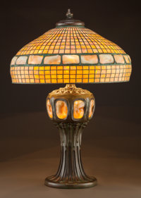 IMPORTANT TIFFANY STUDIOS LEADED GLASS AND BRONZE GOLDEN TURTLEBACK TILE LAMP Cir