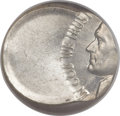 Errors, Undated Jefferson Nickel -- Struck 55% Off Center on a Silver Dime Planchet -- MS61 NGC....