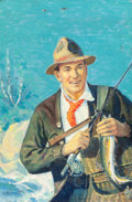 Mainstream Illustration, A. HUTCHINS (American, 20th Century). The Fisherman. Oil oncanvas. 15 x 12.375 in.. Signed lower left. Property fro...