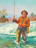 Mainstream Illustration, GORDON E. NICHOLS (American, 20th Century). Man Fly Fishing.Oil on canvas. 26 x 20 in.. Signed and dated lower left. ...