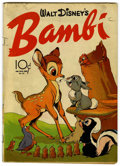 Golden Age (1938-1955):Cartoon Character, Four Color #12 Walt Disney's Bambi (Dell, 1942) Condition: VG+....