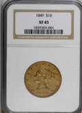 Liberty Eagles: , 1849 $10 XF45 NGC. NGC Census: (158/421). PCGS Population (64/151).Mintage: 653,618. Numismedia Wsl. Price for NGC/PCGS co...