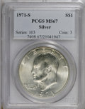 Eisenhower Dollars: , 1971-S $1 Silver MS67 PCGS. PCGS Population (224/0). NGC Census: (67/1). Mintage: 2,600,000. Numismedia Wsl. Price for NGC/...