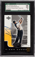 Golf Cards:General, 2001 Upper Deck E-Card E-Volve Autograph Tiger Woods #ES-TW SGC 98 Gem 10. ...