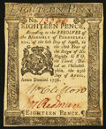 Colonial Notes:Pennsylvania, Pennsylvania April 25, 1776 18d Extremely Fine.. ...
