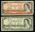 Canadian Currency: , 1954 $1 and $2 Devil's Face.. ... (Total: 2 notes)