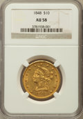 Liberty Eagles, 1848 $10 AU58 NGC....