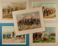 Books:Prints & Leaves, Juan Alaminos, artist. Lot of Five Superb Colored LithographsDepicting Scenes From Spain's Third Carlist War, Circa 1872. M...