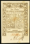Colonial Notes:Rhode Island, Rhode Island May 1786 6d Choice About New.. ...