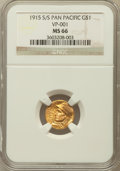 Commemorative Gold, 1915-S G$1 Panama-Pacific Gold Dollar MS66 NGC. Breen-7436....