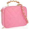 Luxury Accessories:Bags, Chanel Pink Quilted Patent Leather Bag with Gold Hardware. ...