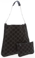 Luxury Accessories:Bags, Gucci Black Monogram Suede Shoulder Bag with Gunmetal Strap. ...