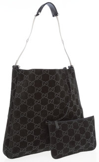 Fendi Black Monogram Suede Shoulder Bag with Gunmetal Strap