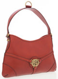 Luxury Accessories:Bags, Gucci Red Leather Shoulder Bag with Brushed Gold GG Detail. ...
