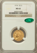 Indian Quarter Eagles, 1914 $2 1/2 MS62 NGC. CAC....