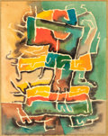Texas:Early Texas Art - Modernists, BROR ALEXANDER UTTER (American, 1913-1993). Untitled(Abstract). Watercolor on paper laid on paper. 9-1/2 x 7-1/2inches...
