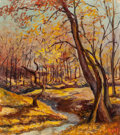 Texas:Early Texas Art - Regionalists, PATTIE RICHARDSON EAST (American, 1894-1994). Texas AutumnLandscape. Oil on canvas board. 12-1/4 x 10-3/4 inches (31.1...