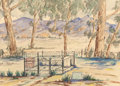 Works on Paper, MILDRED GARRETT (American, 20th Century). Fenced In. Watercolor on paper. 13-1/2 x 19 inches (34.3 x 48.3 cm) (sheet). S...