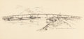 "Fine Art - Work on Paper:Drawing, EDWARD MUEGGE ""BUCK"" SCHIWETZ (American, 1898-1984). SurfsideBridge and Intercoastal Canal. Ink on paper. 8-1/2 x 18 in..."