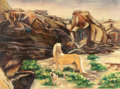 Texas:Early Texas Art - Regionalists, CHRISTY MONK (American, 20th Century). Texas Boulder Landscapewith Horse, 1952. Oil on canvas . 27 x 36 inches (68.6 x ...