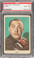 "Non-Sport Cards:Singles (Post-1950), 1959 Fleer ""Three Stooges"" Curly #1 PSA NM-MT 8 - Scarce Grey Back!..."