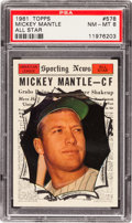 Baseball Cards:Singles (1960-1969), 1961 Topps Mickey Mantle All Star #578 PSA NM-MT 8....