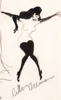 Pin-up and Glamour Art, LEROY NEIMAN (American, b. 1926). Femlin #1, 1960. Penciland ink on paper. 4 x 7 in. (image). Signed lower center....