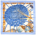 "Luxury Accessories:Accessories, Hermes Blue & Cream ""Jardin Creole,"" by Valerie Dawlat-DumoulinSilk Scarf. ..."
