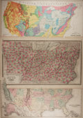 """Books:Maps & Atlases, [Antique Maps] Lot of Three Vintage United States Maps. 28.25"""" x 17.25"""". Removed from a larger atlas. Closed tears, chipping..."""