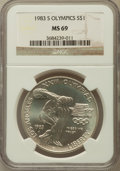 Modern Issues, 1983-S $1 Olympic Silver Dollar MS69 NGC. NGC Census: (1302/9).PCGS Population (1518/5). Mintage: 174,014. Numismedia Wsl....