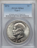 Eisenhower Dollars, 1972 $1 Type Two MS64 PCGS. PCGS Population (446/61). NGC Census:(0/0). Numismedia Wsl. Price for problem free NGC/PCGS c...