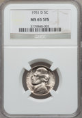 Jefferson Nickels, 1951-D 5C MS65 Five Full Steps NGC. PCGS Population (118/42).Numismedia Wsl. Price for problem free NG...