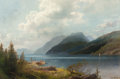 Fine Art - Painting, American:Other , HERMANN OTTOMAR HERZOG (American, 1832-1932). Mountain Lake,Sagne Fjord, Norway. Oil on canvas. 14 x 21 inches (35.6 x ...