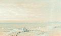 Fine Art - Work on Paper:Watercolor, WILLIAM TROST RICHARDS (American, 1833-1905). Point Judith,1871. Watercolor, gouache, and pencil on paper. 7-1/2 x 12-3...