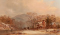 Fine Art - Painting, American:Antique  (Pre 1900), JAMES BRADE SWORD (American, 1839-1915). A Winter'sAfternoon, 1874. Oil on canvas. 12-1/4 x 20-1/4 inches (31.1 x51.4 ...