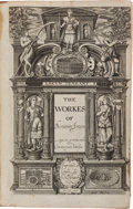 Books:Literature Pre-1900, Ben Jonson. The Workes of Benjamin Jonson. London: WillStansby, 1616. First collected edition, volume I only (the s...