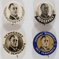 Political:Pinback Buttons (1896-present), Franklin D. Roosevelt: Four Graphic Picture Pins.... (Total: 4 Items)