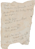"""Autographs:Authors, Harry Crosby. Manuscript Poem, signed """"Harry"""" and with his distinctive drawing of a Black Sun. On irregular shaped slip of p..."""