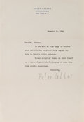 Autographs:Authors, Helen Keller. Typed Letter Signed. 10.5 x 7.25 inches. Near fine....