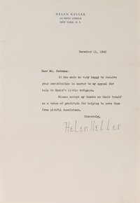 Helen Keller. Typed Letter Signed. 10.5 x 7.25 inches. Near fine