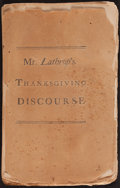 Books:Americana & American History, [American Revolution]. John Lathrop. A [Thanksgiving] Discoursepreached, December 15, 1774... Boston, 1774. First e...