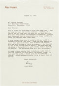 """Books:Literature 1900-up, Alex Haley. Typed Letter Signed (""""Alex""""). Norris, Tennessee, August21, 1991. Haley warmly corresponds with an associate.. ..."""