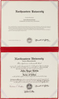 Books:Literature 1900-up, John Updike. Honorary Doctor of Letters Diploma from Northeastern University. Boston: Northeastern University, September 13,...