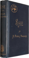 Books:Science Fiction & Fantasy, H. Rider Haggard. She. A History of Adventure.London: Longmans, Green, 1887. First British edition, firstissue...