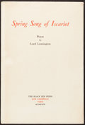 Books:Literature 1900-up, [Black Sun Press]. Lord Lymington. Spring Song of Iscariot.Paris, 1929. First edition, number 4 of 25 limited e...