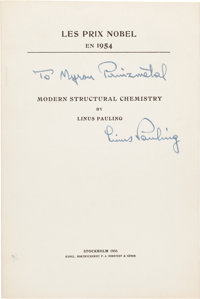 [Nobel Prize in Science]. Excellent Collection of 218 Nobel Lectures & Related Offprints by 80 Nobel Prize Laure...