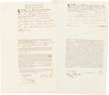 Autographs:Military Figures, Timothy Matlack Document Twice Signed.... (Total: 2 Items)