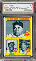 "Baseball Cards:Singles (1970-Now), 1973 Topps Ruth/Aaron/Mays ""All Time Home Run Leaders"" #1 PSA Mint9 - Only One Higher! ..."