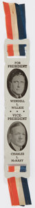 Political:Ribbons & Badges, Willkie & McNary: Aluminum Jugate Bookmark....