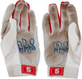 Baseball Collectibles:Others, 2000's Albert Pujols Game Worn Batting Gloves, Each Signed....